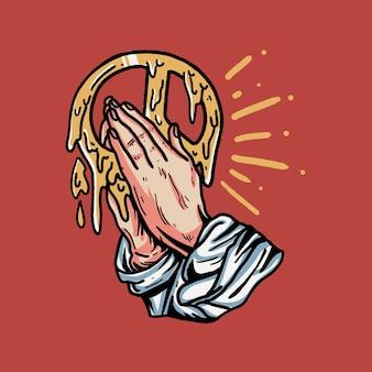 Mano rezando retro con ilustración de paz para camiseta