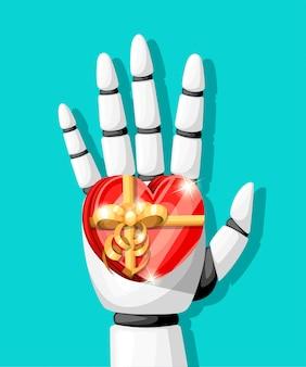 La mano de robot blanca o el brazo robótico para prótesis tiene un regalo en forma de corazón con una ilustración de lazo dorado en la página web de fondo turquesa y la aplicación móvil