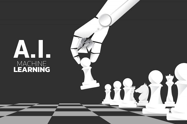 Mano de robot mover pieza de ajedrez en juego de mesa.