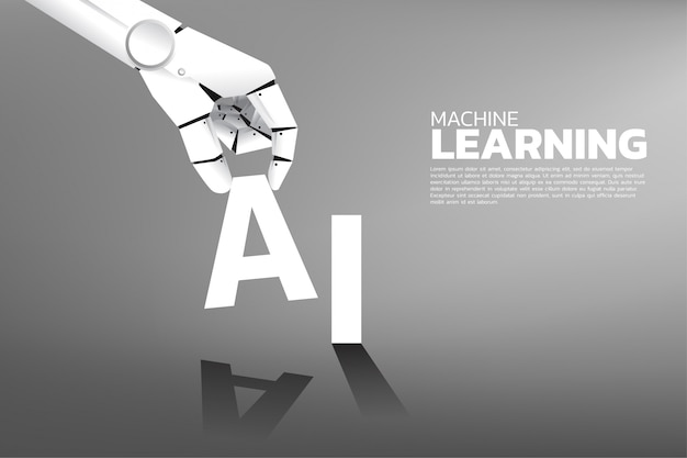 La mano del robot puso a en la palabra ai. inteligencia artificial