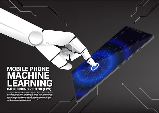 Mano de robot táctil en pantalla de telefono movil