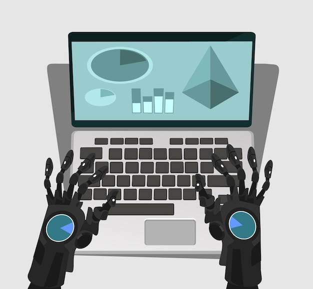 Mano de robot trabaja en la computadora