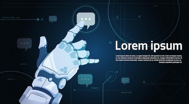 Mano robótica chat táctil burbuja robots comunicación y concepto de inteligencia artificial