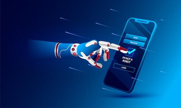 Mano robótica haciendo clic en el captcha 'no soy un robot'.