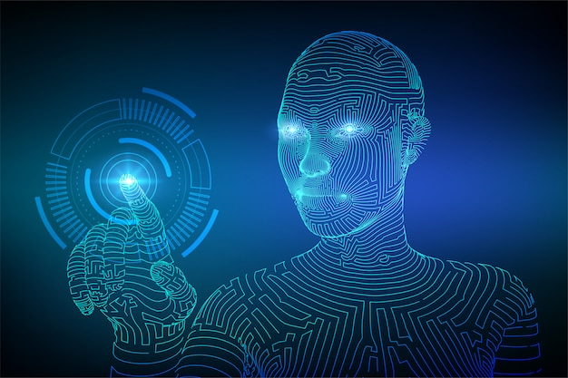 Mano robótica tocando el fondo de la interfaz digital