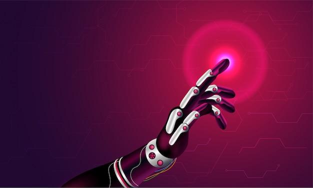 Mano robótica está tocando una pantalla de espacio virtual.