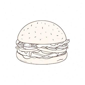 Mano sabrosa hamburguesa dibujada con líneas de contorno. dibujo de jugosa hamburguesa o sándwich con empanada de carne, queso y verduras, deliciosa comida rápida