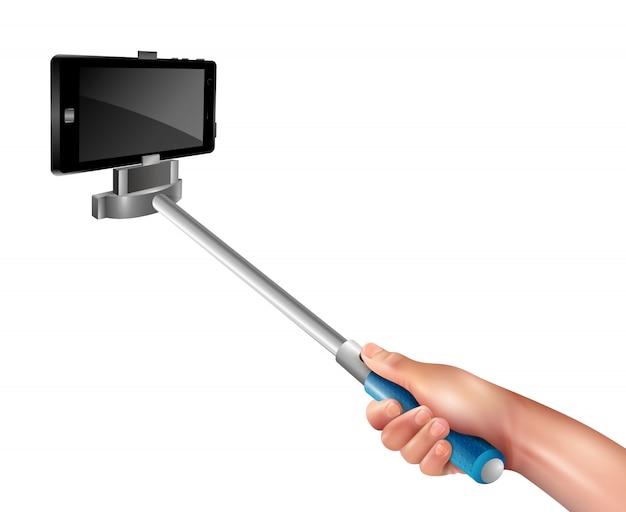 Mano con selfie stick