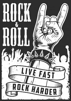 Mano en señal de rock n roll