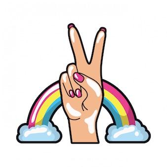 Mano con signo de la paz y amor pop art.
