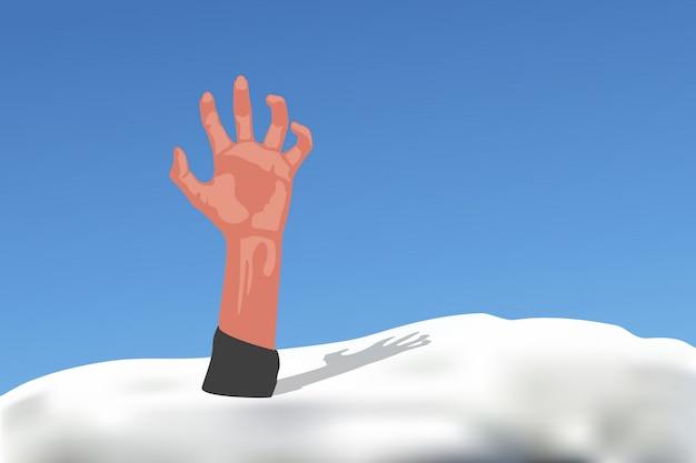 Mano sobresale de la nieve