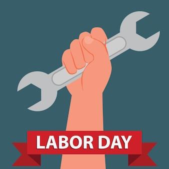 Mano sostener llave inglesa día internacional del trabajo