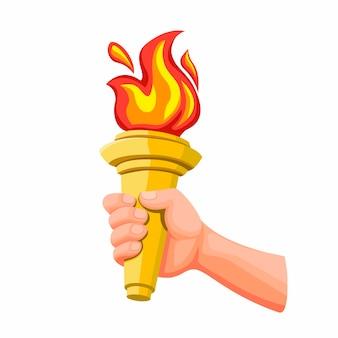 Mano sosteniendo la antorcha dorada con llama de fuego, símbolo de la competencia deportiva en la ilustración de dibujos animados aislado en el fondo blanco
