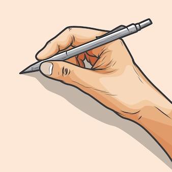 Mano sosteniendo un bolígrafo escribirá algo