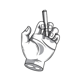 Mano sosteniendo un cigarrillo dibujo a mano