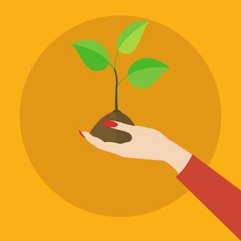 Mano sosteniendo el concepto de vector de ecología de planta frágil