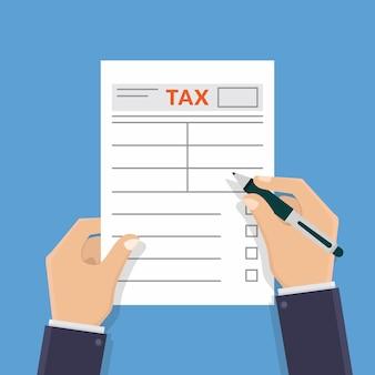 Mano sosteniendo formulario de impuestos y escribiendo formulario de impuestos diseño plano ilustración vectorial