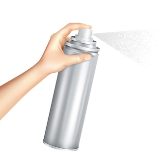 Mano sosteniendo lata de aerosol realista