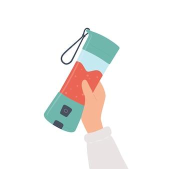Mano sosteniendo una licuadora portátil para batidos y bebidas mixtas. ilustración dibujada a mano