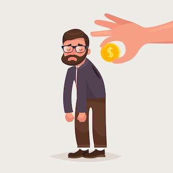 Mano sosteniendo la moneda insertando en la parte posterior del empresario