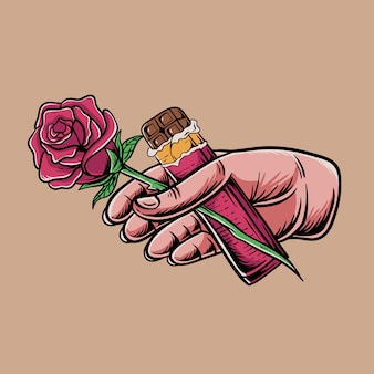 Mano sosteniendo una rosa y una barra de chocolate ilustración