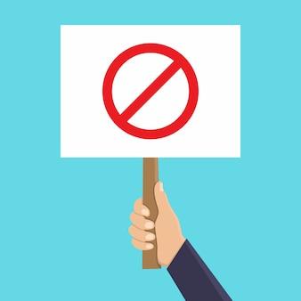 Mano sosteniendo la señal de stop ilustración plana