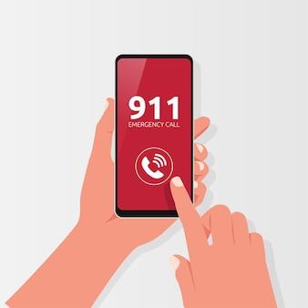 Mano sosteniendo el teléfono con el símbolo de llamada de teléfono de emergencia. ilustración del concepto de seguridad