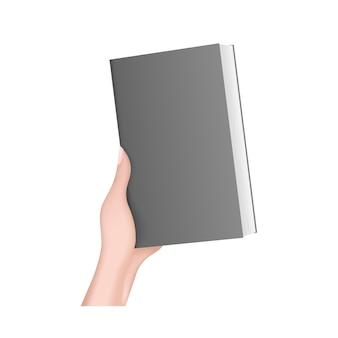La mano sostiene un libro negro. mano de niña 3d realista. aislado.