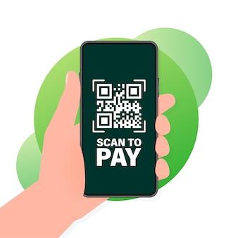 La mano sostiene el teléfono con escaneo de código qr para pagar en la pantalla