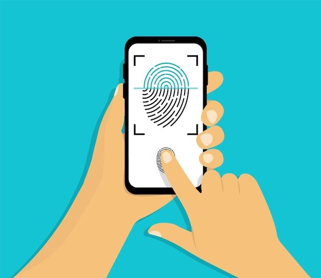La mano sostiene el teléfono inteligente con escaneo de huellas dactilares