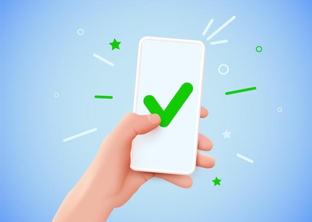 La mano sostiene el teléfono inteligente y establece una marca de verificación en la pantalla