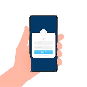 La mano sostiene el teléfono con la ventana del formulario de registro en la pantalla sobre fondo azul.