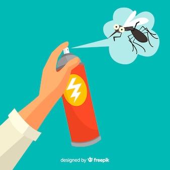 Mano con spray de mosquitos