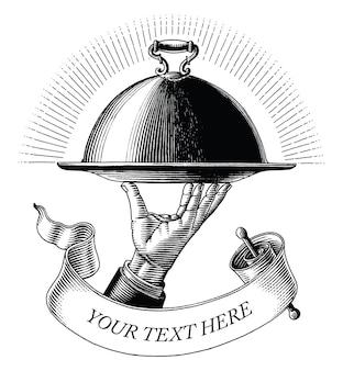 Mano sujetando la bandeja de comida dibujo estilo vintage grabado imágenes prediseñadas en blanco y negro aislado sobre fondo blanco.