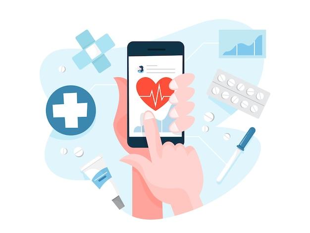 Mano sujetando el dispositivo digital y verificar la salud.
