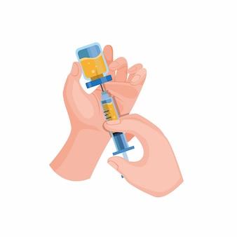 Mano sujetando la jeringa y la vacuna contra la infección del virus inmune en la ilustración plana de dibujos animados