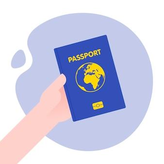 Mano sujetando pasaporte para viaje internacional. ilustración con estilo.