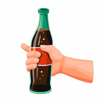 Mano sujetando softdrink cola, refresco en botella de vidrio de dibujos animados ilustración realista sobre fondo blanco.