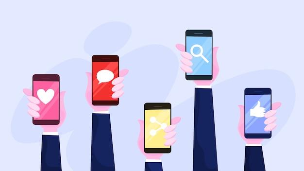 Mano sujetando el teléfono móvil. smartphone con icono