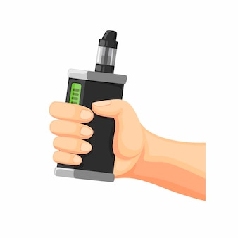 Mano sujetando vape o e-cigarette. símbolo de vaporizador en la ilustración de dibujos animados sobre fondo blanco