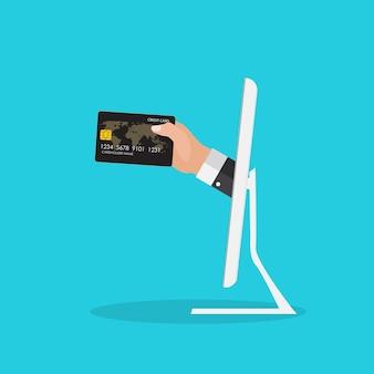 Mano con tarjeta de crédito de la computadora para pagar el concepto de negocio. ilustración