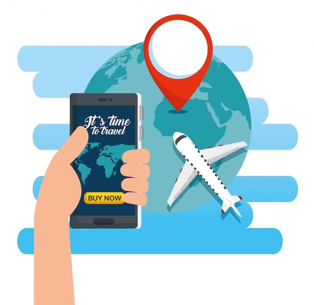 Mano con teléfono inteligente y planeta tierra con señal de ubicación