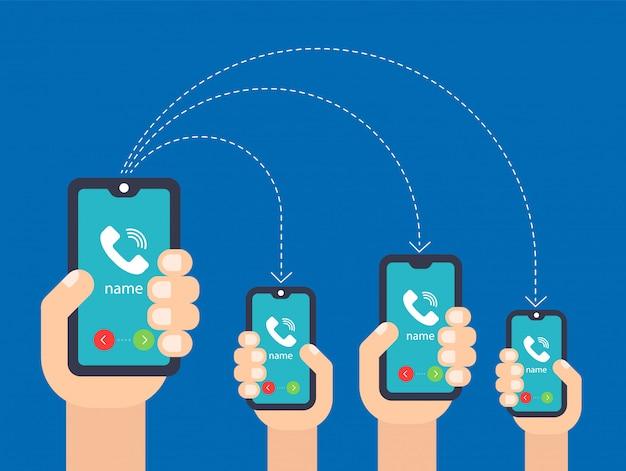 Mano con el telefono. llamar a múltiples teléfonos inteligentes. ilustración vectorial plana