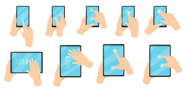 Mano en el teléfono usando la ilustración de gestos de la pantalla táctil