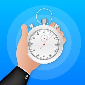 Mano del temporizador en estilo de dibujos animados. administración de empresas. vector de icono de cronómetro. gestión del tiempo. ilustración de stock vectorial.