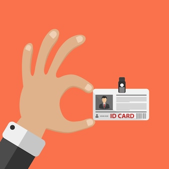 Mano, tenencia, identificación, tarjeta
