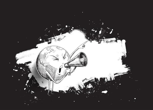 Mano de tierra sosteniendo megáfono. concepto de redes sociales, promoción y publicidad. dibujar a mano dibujo diseño ilustración vectorial.
