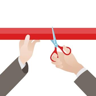 Mano con tijeras corta la cinta roja contra el fondo blanco