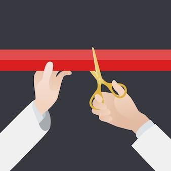 Mano con tijeras doradas corta la cinta roja contra el fondo negro