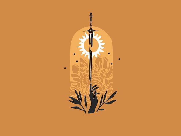 Mano tocando la espada en la luz del sol